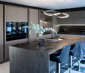 industrial modern grey kitchen design trends 2021 with Radium Dekton Worktop