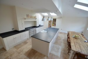 Granite worktop on kitchen island