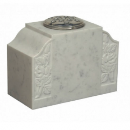 Chidham 9 Polished White Marble Memorial Grave Vase with Rose Design
