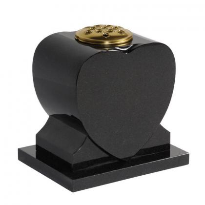 Chidham7 Polished Black Granite Heart Memorial Grave Vase