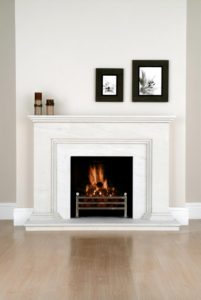 Linestone fireplace surround