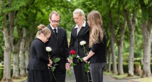 Family at graveside