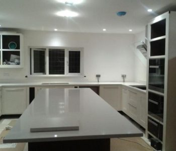 Installation of Silestone Yukon kitchen worktops in Purley, Surrey.