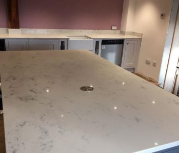 Installation of Classic Quartz Mabre Carrara Kitchen Worktops in Tunbridge
